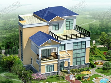 三层带露台别墅全套施工图及效果图_别墅设计图纸,农村房屋设计图