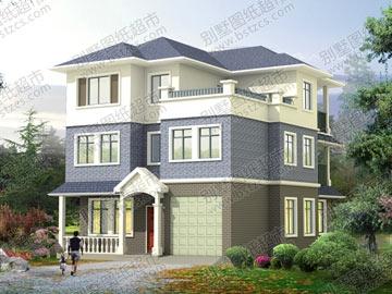 三层带车库新农村房屋设计图纸及效果图_别墅设计图纸