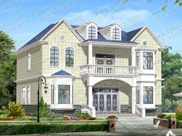 130平方米二层带阁楼新农村自建房设计图纸11x11米_二层别墅设计图
