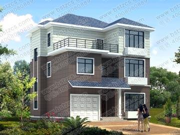 农村三层带车库自建房屋设计图效果图_别墅设计图纸,农村房屋设计图