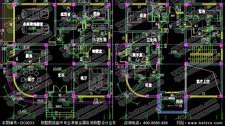 经典复式三层双车库别墅设计_别墅设计图纸,新农村别墅,农村自建房图片