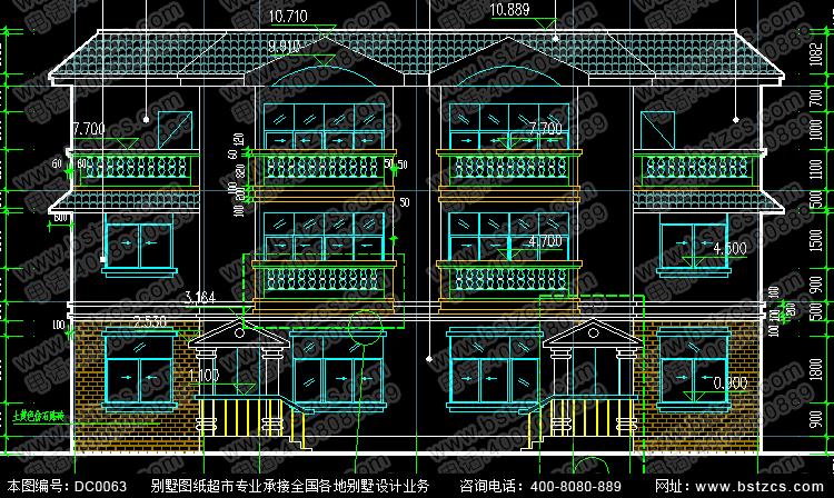 三层平屋顶双拼别墅效果图与施工图_别墅设计图纸,新农村别墅,农村自