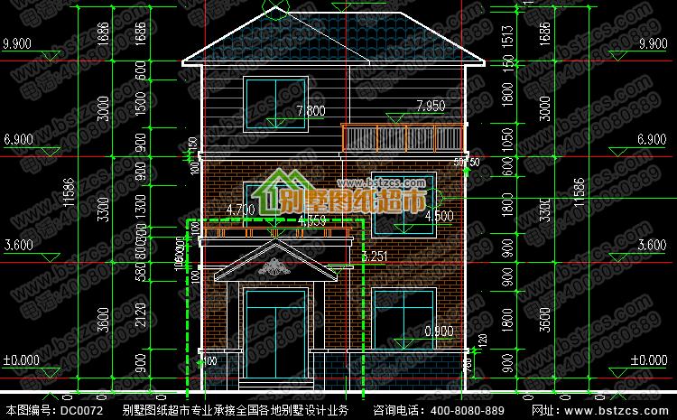 三层新农村住宅设计图纸_别墅设计图纸,新农村别墅,农村自建房设计