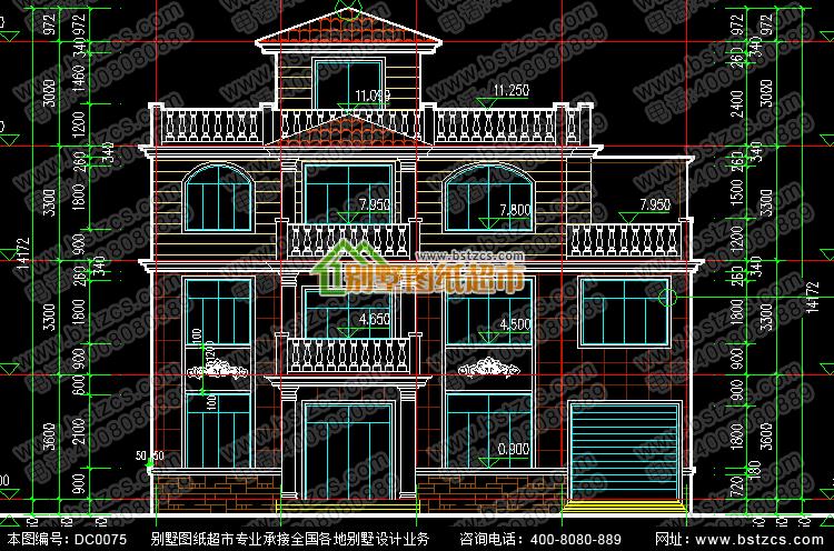 四层别墅施工图带效果图_别墅设计图纸,新农村别墅,农村自建房设计