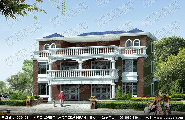 农村二层半带露台双拼房屋设计全套图纸_别墅设计图纸
