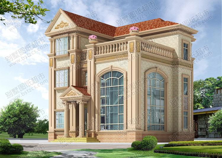 三层带露台欧式别墅效果图