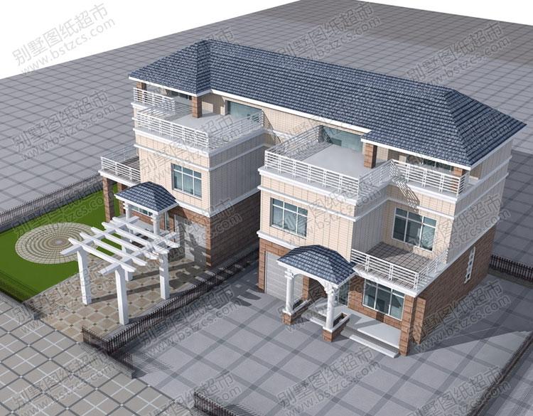實用二層半雙拼別墅效果圖