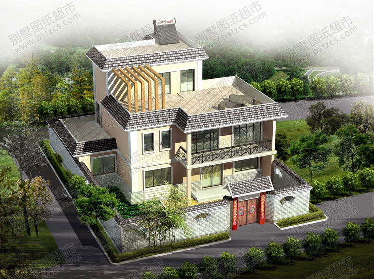 二层半带院子农村自建房屋效果图_效果图库_别墅图纸