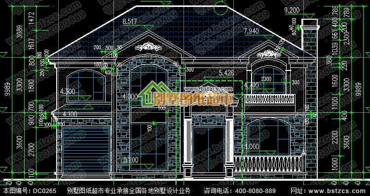 框架结构二层带车库别墅设计图纸_鼎川别墅图纸超市,农村房屋设计图