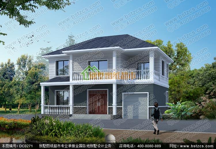 二层带车库小别墅效果图及施工图_农村房屋设计图,鼎川建筑