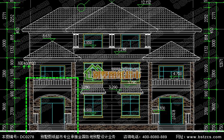 漂亮的三层双拼别墅效果图及施工图_鼎川建筑,鼎川别墅图纸