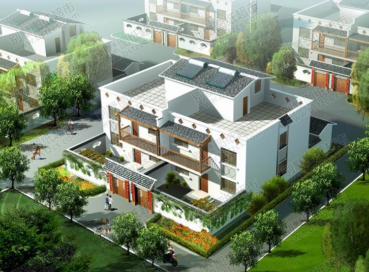农村二层半带院子双拼自建房屋效果图
