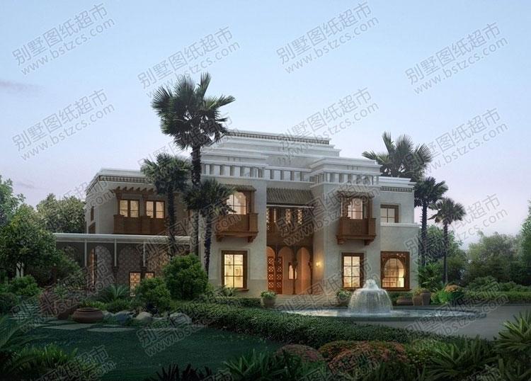 二层半大气欧式别墅外观效果图