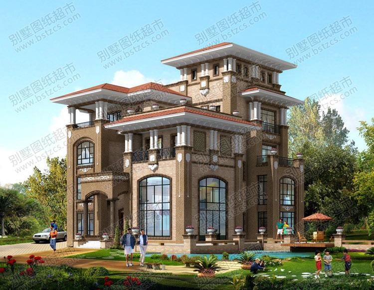 四层半大气豪华欧式别墅外观效果图
