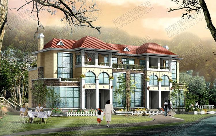漂亮的三层双拼别墅外观效果图