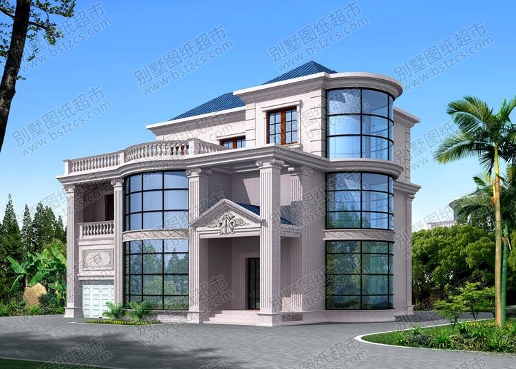 二层半带露台豪华欧式别墅效果图