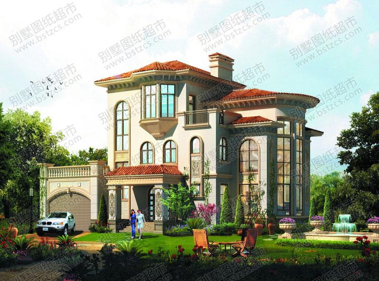三层豪华欧式别墅设计外观效果图