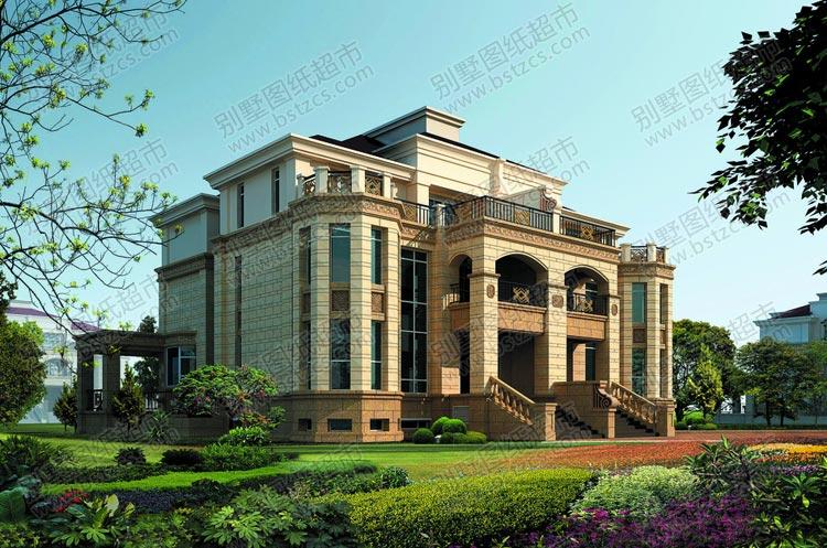大气豪华的三层双拼欧式别墅外观效果图