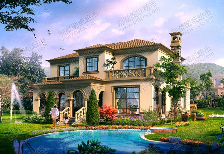 漂亮的二层欧式别墅外观效果图