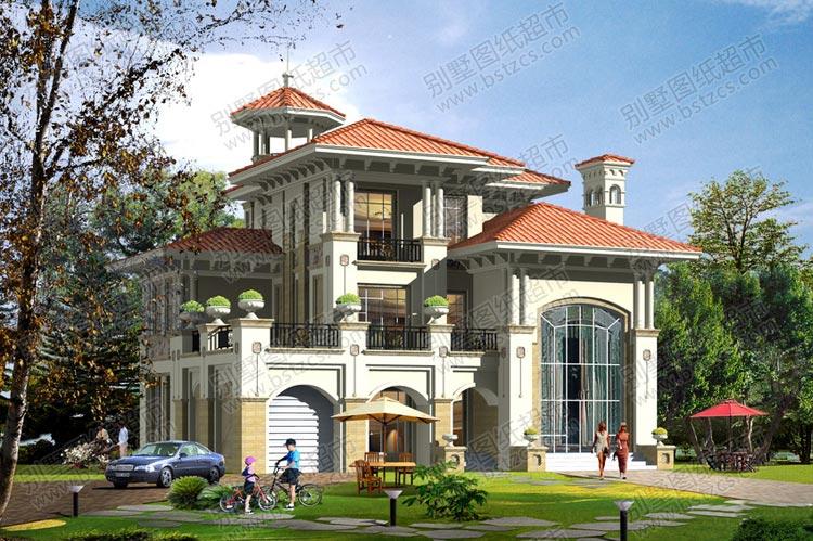 漂亮豪华的三层带车库欧式别墅外观效果图