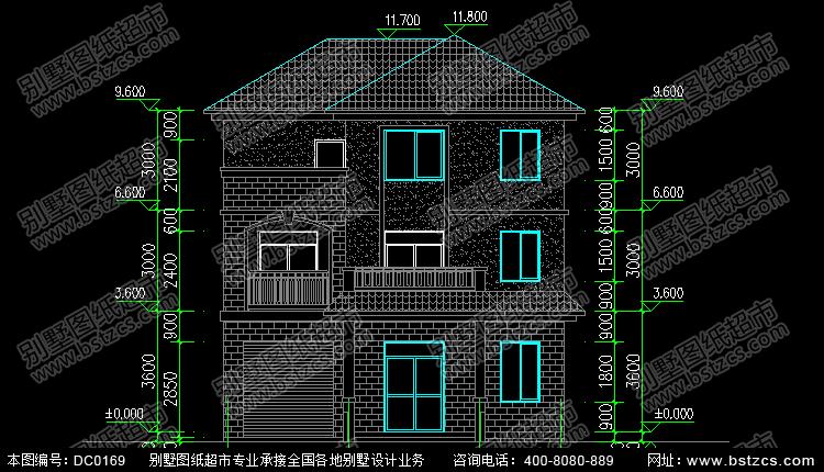 三层带车库新农村住宅设计施工图及效果图_别墅设计图纸,农村房屋设计