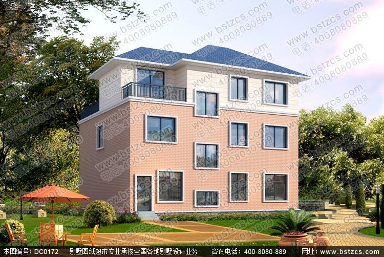 带露台及车库二层半农村自建房屋设计图_别墅设计图纸,农村房屋设计图