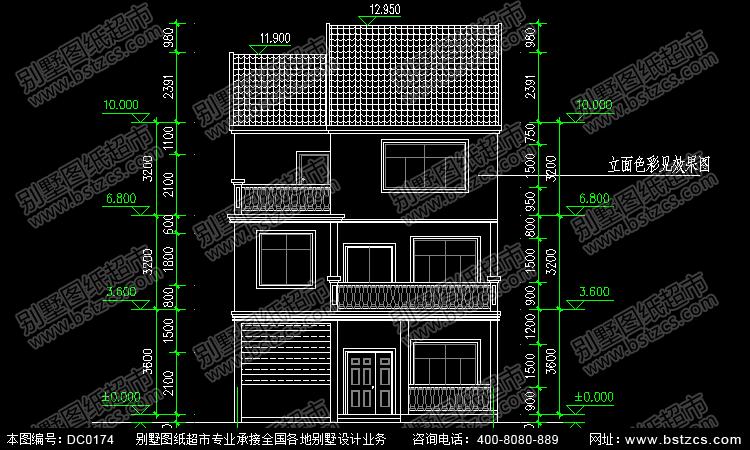 占地100平方农村三层带车库自建房设计图_别墅设计图纸,农村房屋设计