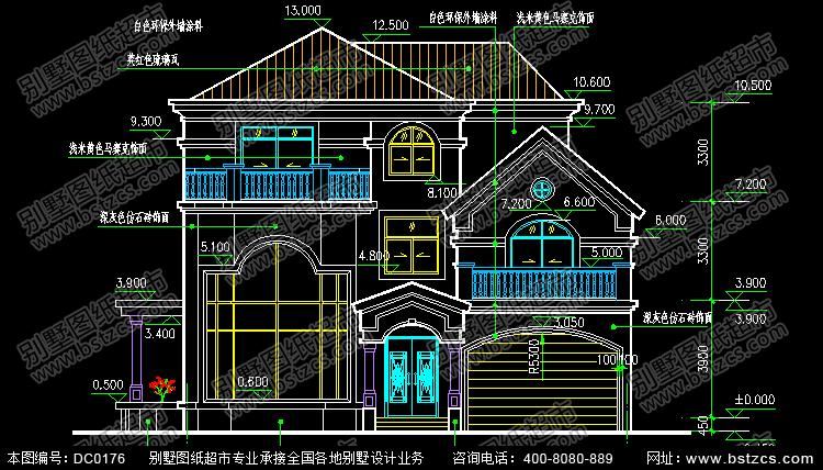 三层带车库复式楼别墅设计图纸及效果图_别墅设计图纸,农村房屋设计图