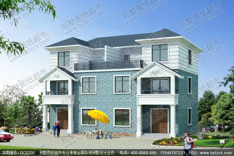 三层带露台双拼自建房屋设计图_别墅设计图纸,农村房屋设计图