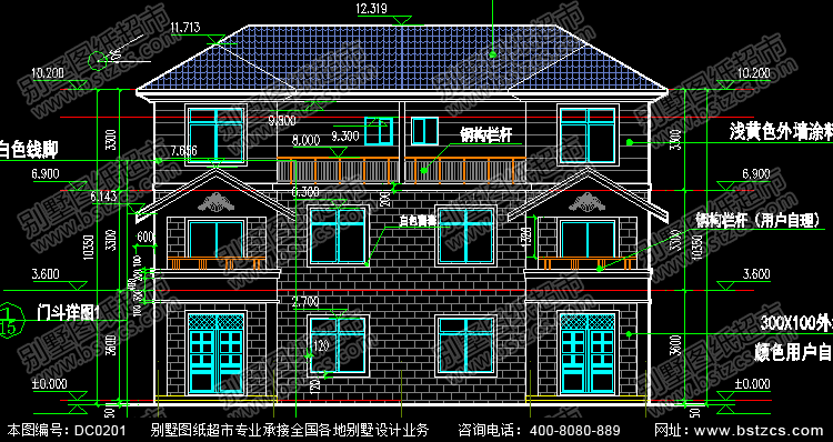 带露台三层双拼自建房屋设计图_别墅设计图纸,农村房屋设计图