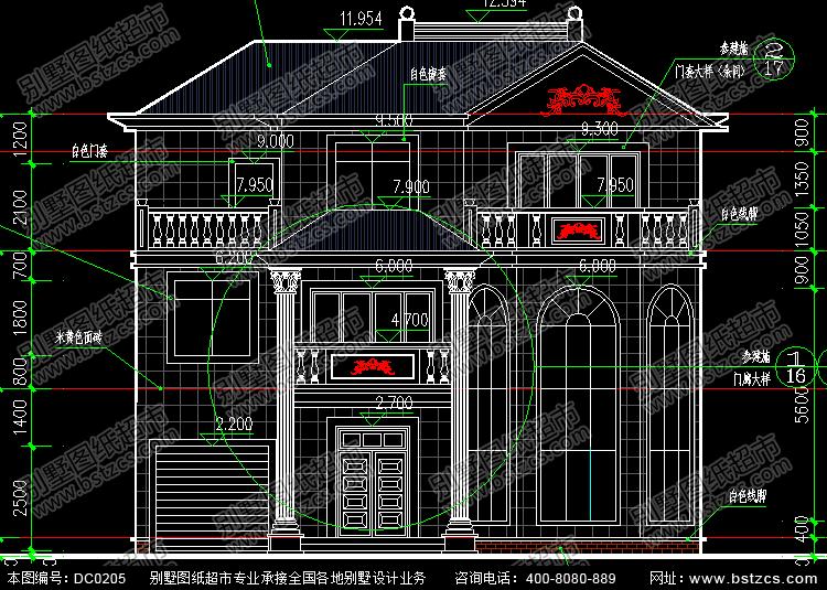 复式三层带车库大气别墅图纸_别墅设计图纸,农村房屋设计图
