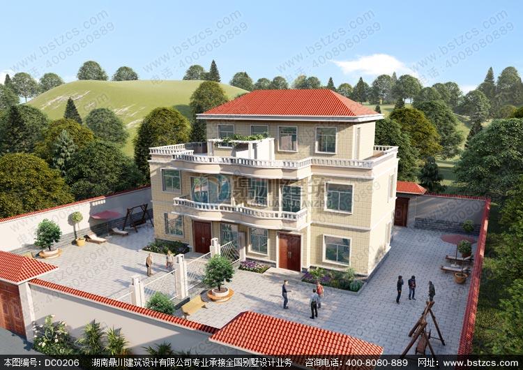 农村二层半双拼自建房设计图效果图_别墅设计图纸,农村房屋设计图