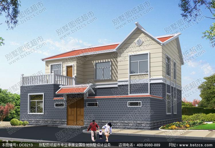 首页 图纸超市 二层别墅 农村实用二层带内院自建房屋设计图_别墅设计