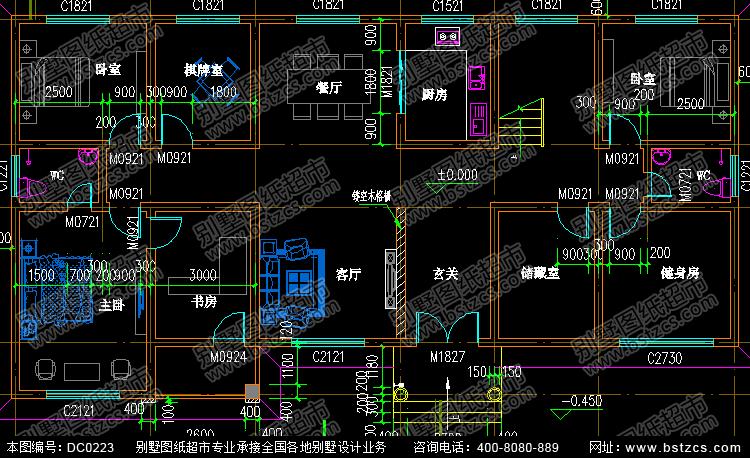 二层带阁楼大面积别墅设计全套图纸_别墅设计图纸,农村房屋设计图