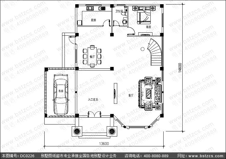 大气三层旋转楼梯复式客厅别墅设计图纸_三层带车库别墅,鼎川图纸超市图片