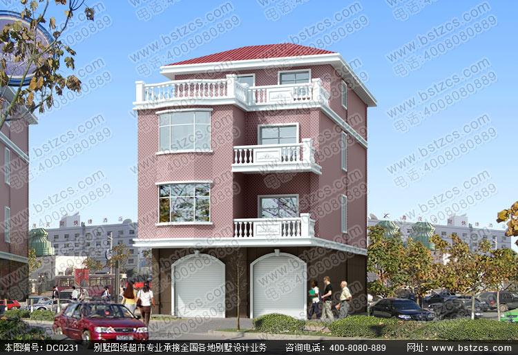 臨街四層帶商鋪自建房屋設計圖紙—四層帶門面別墅,四