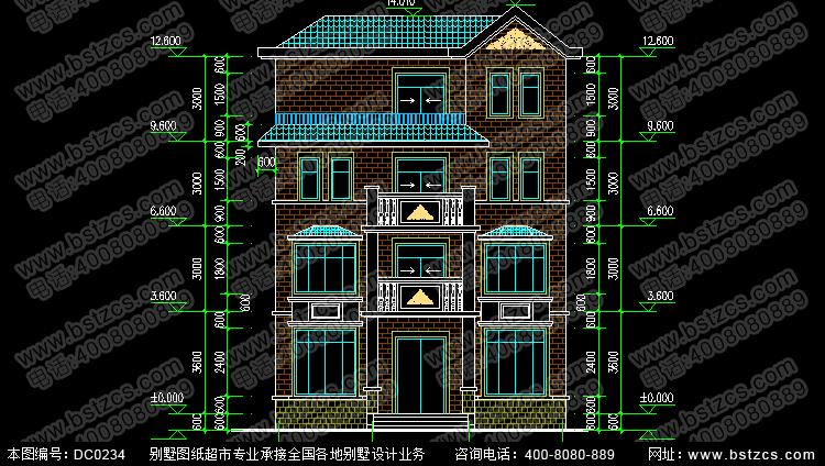 四层带露台新农村自建房设计图纸_别墅设计图纸,鼎川图纸超市