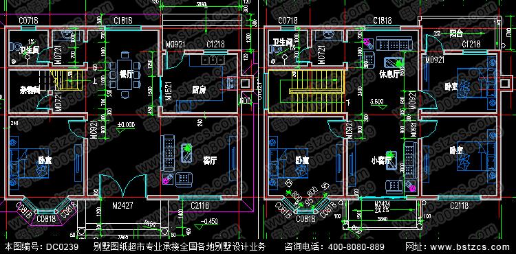 占地100平方左右农村二层自建房设计全套图纸_别墅图纸超市,鼎川建筑