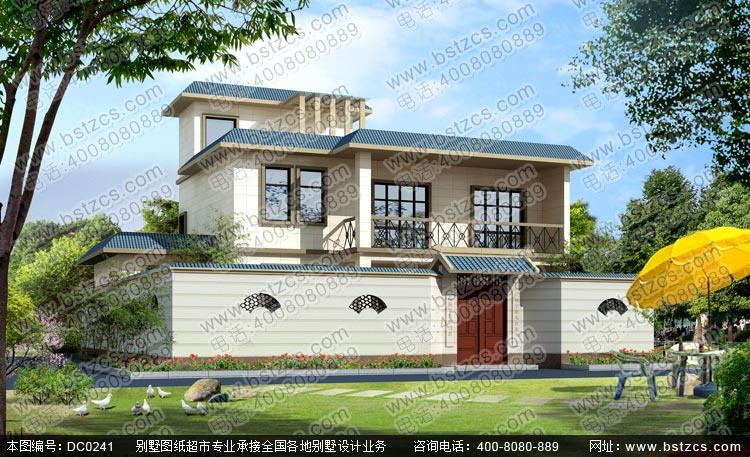 农村二层半平屋顶自建房设计图纸_别墅图纸超市,二层半带院子房屋设计