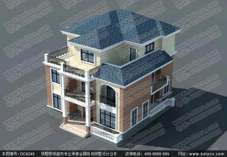 框架结构三层带露台别墅设计图纸及效果图_农村自建房