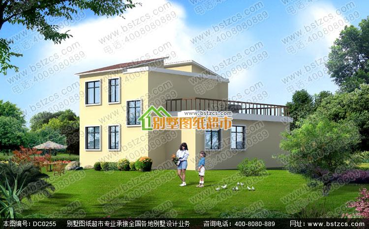 二层带车库现代风格小别墅设计图纸_别墅图纸超市,二层带露台现代别墅