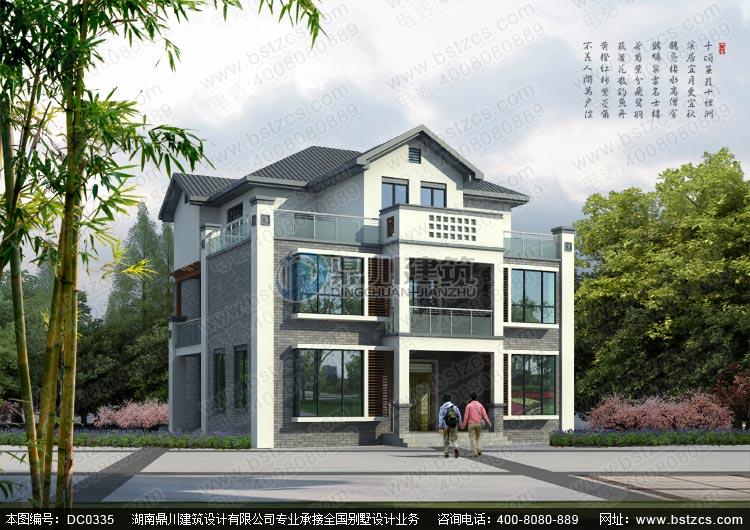 农村三层新中式别墅设计施工图及效果图_三层别墅设计图纸,鼎川建筑