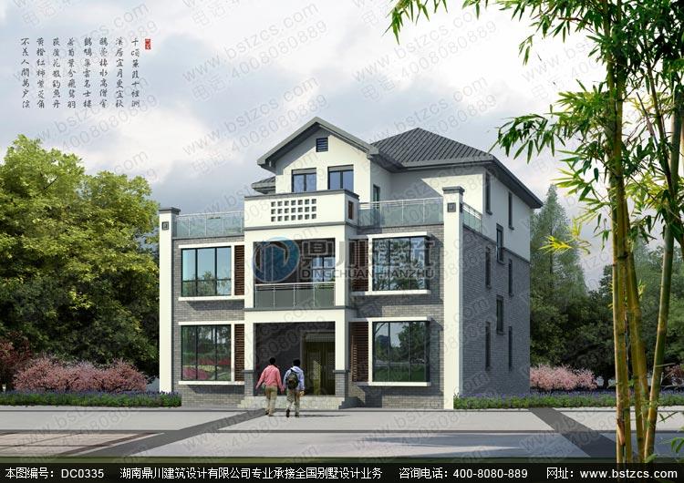 农村三层新中式别墅设计施工图及效果图_三层别墅设计图纸,鼎川建筑图片