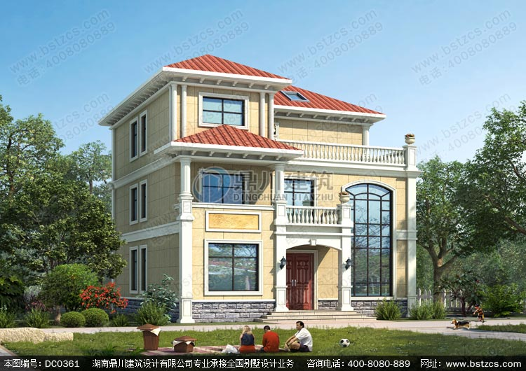 复式三层带露台简欧小别墅设计效果图及施工图_农村三层别墅设计图纸