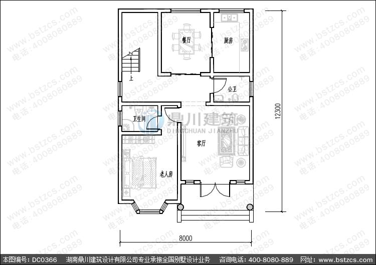 二层带露台小户型别墅设计图纸_农村别墅设计图纸,鼎川建筑